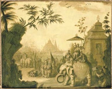 Jean-Baptiste_Pillement_-_A_chinoiserie_procession_of_figures_riding_on_elephants_with_temples,_oil_on_canvas_